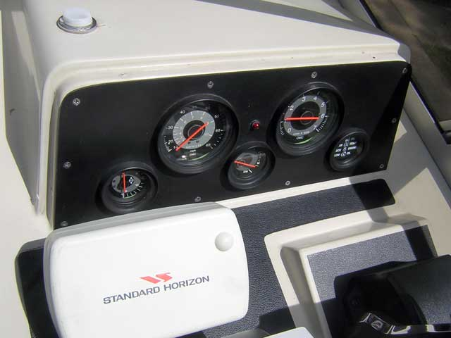 Photo: Helm instrument panel with sun shade removed.