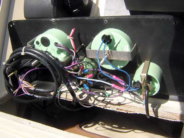 Photo: Rear of instrument panel showing existing wiring details.