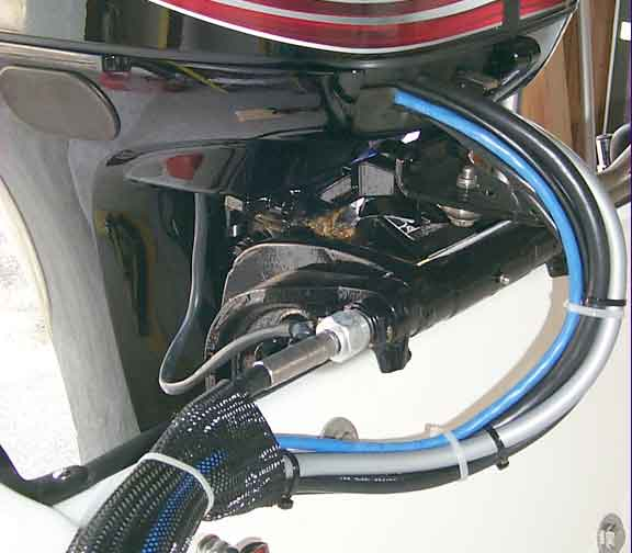 PHOTO: SmartCraft cable (blue) entering engine cowling
