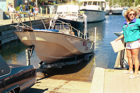 Photo: Launch ramp with courtesy dock, keel roller trailer